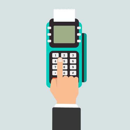 cashless: Pos terminal in flat style. Pos payment. Illustration pos machine or credit card terminal. Concept of cashless payment and credit card payment. Illustration
