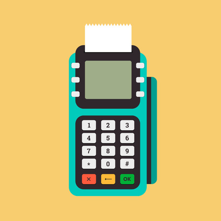 cashless payment: Pos terminal in flat style. Pos payment. Illustration pos machine or credit card terminal. Concept of cashless payment and credit card payment. Illustration