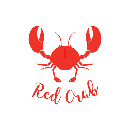 Crab silhouette. Seafood shop branding template for craft food packaging or restaurant design. Illustration