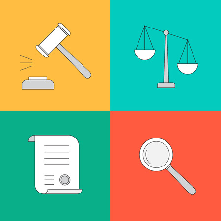 collection or set of law and justice icons sign symbol in flat style Illustration