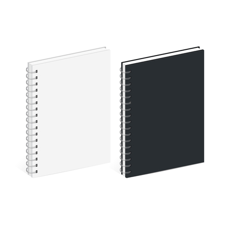 spiral notebook: Blank Spiral Notebook Template. Black and white covers. Isometric view, on white background.