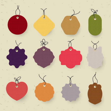 Set of christmas label and background.christmas tag. sign and symbol. Knitted texture
