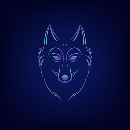 Wolf silhouette. Vintage wolf face logo emblem template for business or t-shirt design. Vector wolf Vintage Design Element. Wolf logo. Wolf icon. Color silhouette wolf. Vettoriali