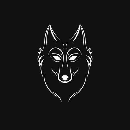 wolf silhouette vintage wolf face logo emblem template for business
