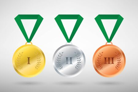 Illustration of three winners sports style medals for first second and third prize Illustration