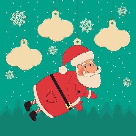 Christmas scrapbook set - decorative elements.  illustration. Santa Claus, snowflakes, clouds and city silhouette. Illustration