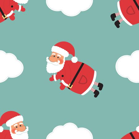 Christmass Seamless Illustration, Cartoon Santa Clauses with clouds on Abstract Blue Background