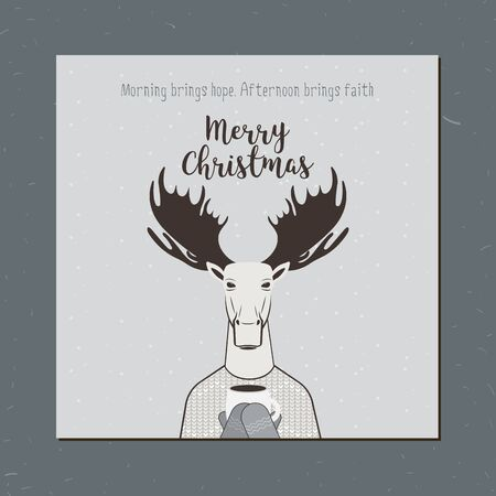 christmas elk: Greeting card: Merry Christmas. Creative hand drawn card with moose.  cartoon illustration. Christmas elk