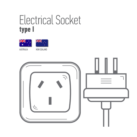 wattage: Switches and sockets set. Type I. AC power sockets realistic illustration. Different type power socket set,  isolated icon illustration for different country plugs.