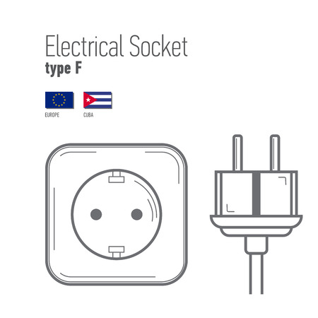 wattage: Switches and sockets set. Type F. AC power sockets realistic illustration. Different type power socket set,  isolated icon illustration for different country plugs. Illustration
