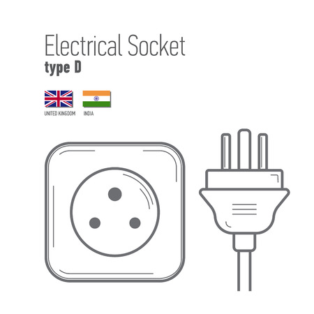 sockets: Switches and sockets set. Type D. AC power sockets realistic illustration. Different type power socket set,  isolated icon illustration for different country plugs.