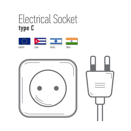 sockets: Switches and sockets set. Type C. AC power sockets realistic illustration. Different type power socket set,  isolated icon illustration for different country plugs. Illustration