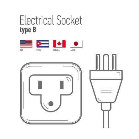 wattage: Switches and sockets set. Type B. AC power sockets realistic illustration. Different type power socket set,  isolated icon illustration for different country plugs.