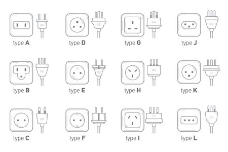 Electric outlet illustration on white background. Different type power socket set,  isolated icon illustration for different country plugs. Power socket - World standards icons set.