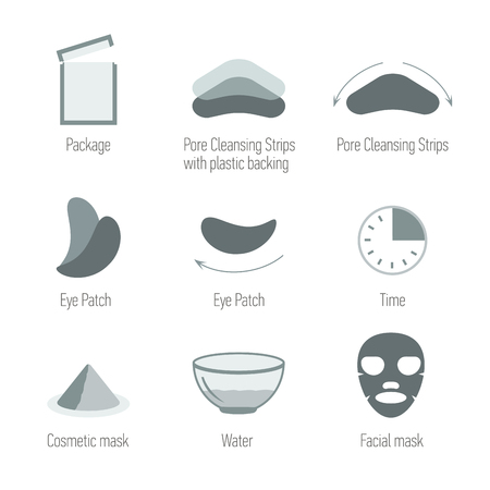 maintain: Facial skin care icons set. Cleansing the skin and maintain healthy skin. Skin health, symbols collection. Isolated vector illustration. Pore Cleansing Strips, Facial mask, Eye Patch