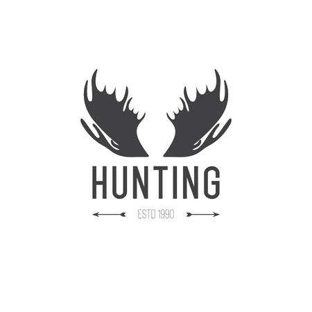 moose hunting: Retro Vintage Insignia or Logotype design element, business sign template. Deer hunting. Hunting for elk. Moose hunting