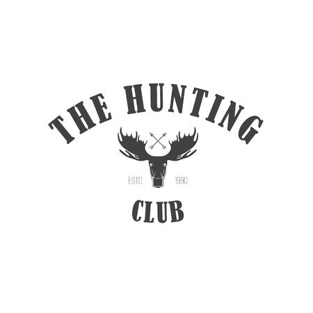 moose hunting: Retro Vintage Insignia or Logotype  design element, business sign template. Deer hunting. Hunting for elk. Moose hunting Illustration