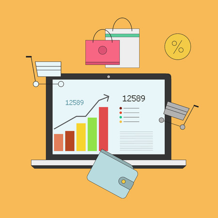 Investing and Personal Finance, Credit and Budgeting. Cashflow management and financial planning. E-commerce. Vector illustration Illustration