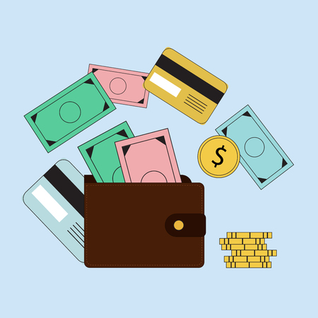 budgeting: Investing and Personal Finance, Credit and Budgeting. Cashflow management and financial planning. E-commerce. Vector illustration Illustration