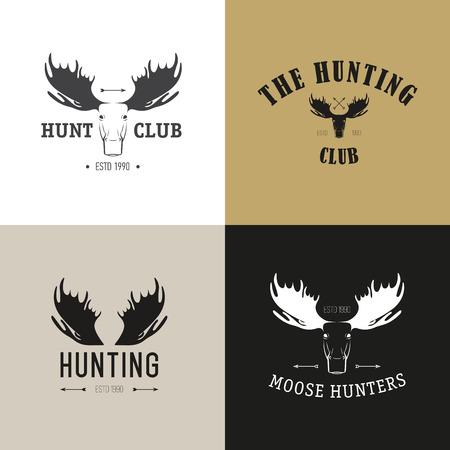 moose hunting: Vector set of vintage hunting emblems. Deer, elk, moose