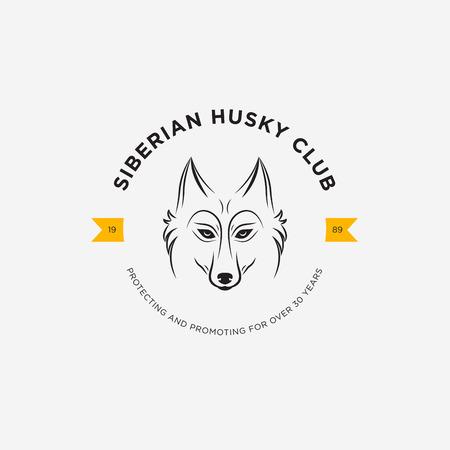 Vector image of a dog siberian husky design on white background and yellow background, Logo, Symbol, Animals. Siberian Husky Club