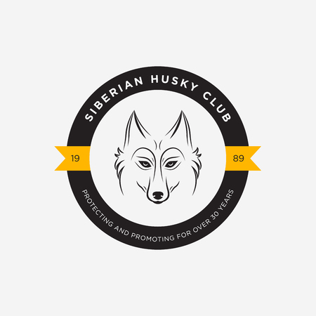 Vector image of a dog siberian husky design on white background and yellow background, Logo, Symbol, Animals. Siberian Husky Club