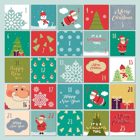 Advent calendar. Christmas poster. Santa Claus, snowflakes, snowman, Christmas tree, Christmas symbols Christmas font Christmas gifts