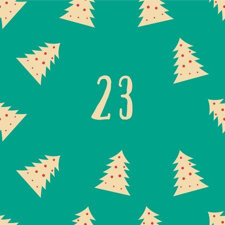 Christmas poster. Colorful Christmas Advent Calendar. Countdown to Christmas- 23.