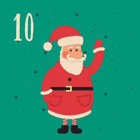 advent calendar: Christmas poster. Colorful Christmas Advent Calendar. Countdown to Christmas- 10.