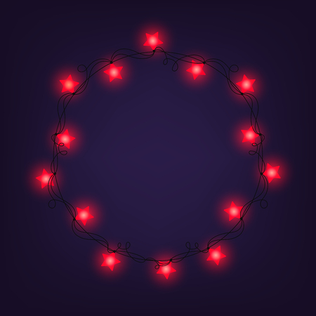 Christmas and New year light garlands like frame on a blue background, vector. Star lights.
