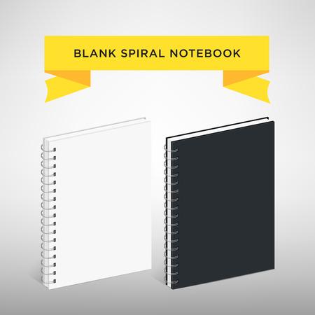 spiral notebook: Blank Spiral Notebook Template : Vector Illustration. White and black color Illustration