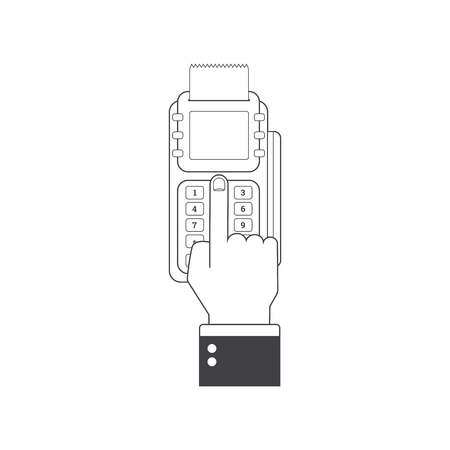 Pos terminal in flat style. Pos payment. Illustration pos machine or credit card terminal. Concept of cashless payment and credit card payment Illustration