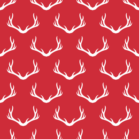 antlers silhouette: Christmas antlers silhouette seamless pattern. Xmas deer Illustration. Animal head texture. Design for textile, wallpaper, web, fabric, decor Illustration