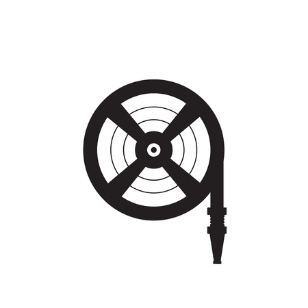 Fire station, Fire hose reel icon. Single silhouette fire equipment icon. Vector illustration. Flat style