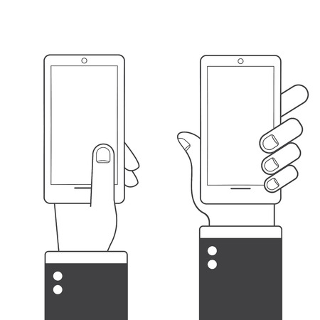 lineart: Different variations of holding a modern smartphone. Lineart pictograms collection
