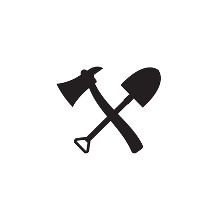 Fire shovel and ax. Single silhouette fire equipment icon. Vector illustration. Flat style