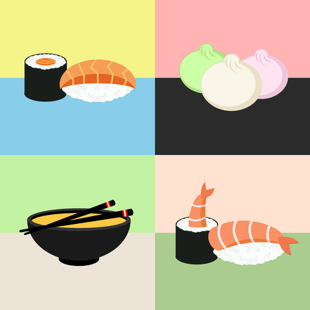 Japanese food Sushi Collection. Shrimp, dim sum, miso soup, roll. Web icon set