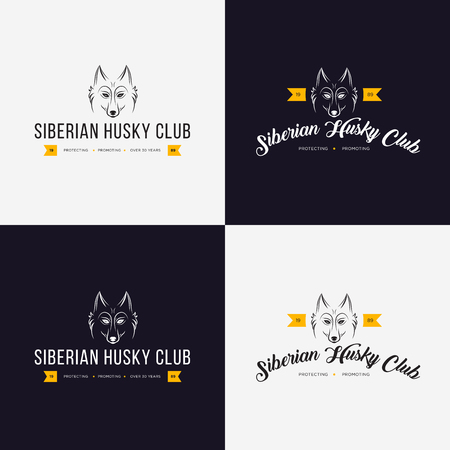 Husky head flat logo vector set. Set of vintage logo and logotype elements for pet shop, pet house, pet and exotic animals clinic