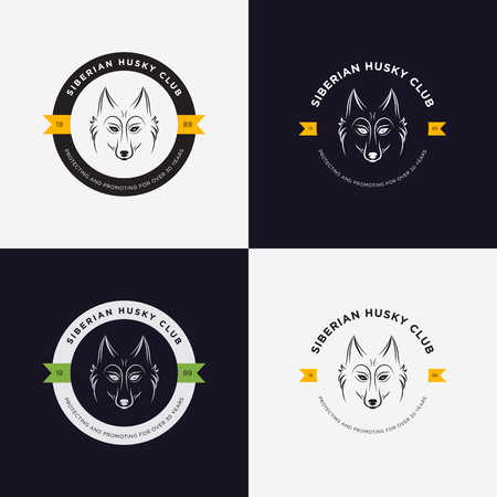 exotic pet: Husky head flat logo vector set. Set of vintage logo and logotype elements for pet shop, pet house, pet and exotic animals clinic