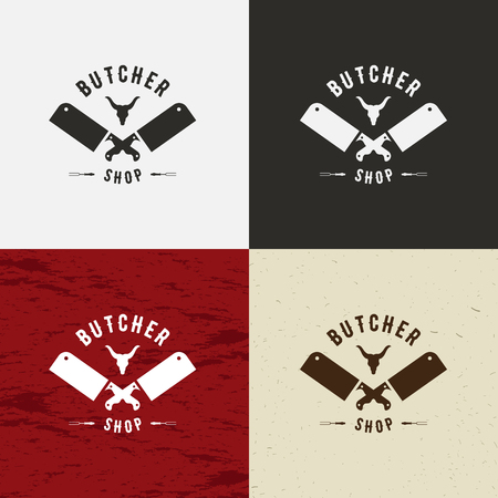 chop: Butcher Shop Design Element in Vintage Style for Logotype, Label, Badge, T-shirts and other design. Cow face and knife retro vector illustration. On white, black, crafting and meat background Illustration