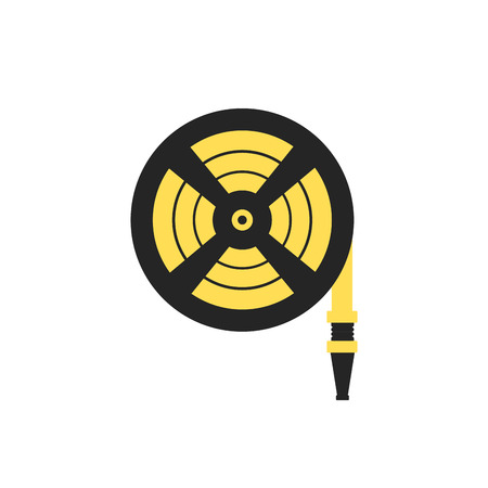 Fire station, Fire hose reel icon. Single silhouette fire equipment icon. Vector illustration. Flat style.