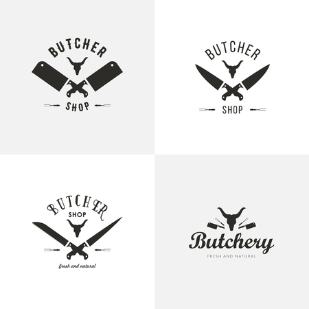 Set of butchery logo templates. Butchery labels with sample text. Butchery design elements and farm animals silhouettes for groceries, meat stores, packaging and advertising Stock Illustratie