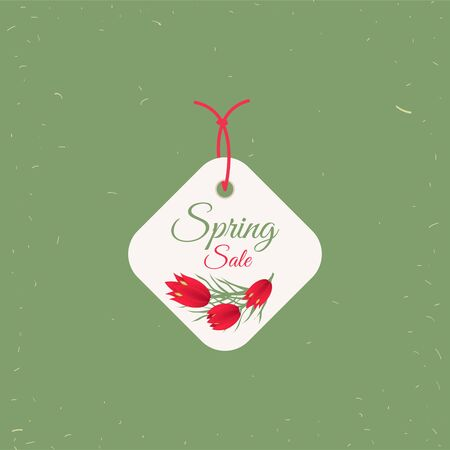 Spring sale tag. Banners poster tag design, voucher template  vector, grouped for easy editing. No open shapes or paths. Illustration