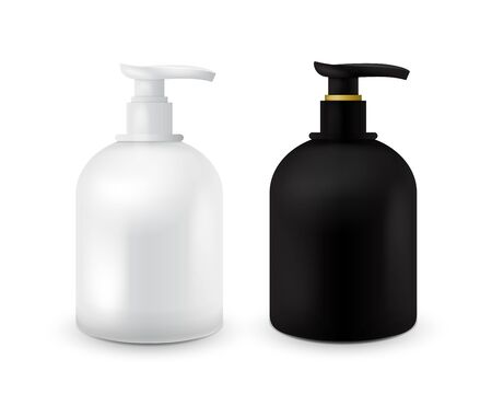 Set of Jar with liquid soap for your logo and design is easy to change colors. Realistic black and white cosmetic container for soap cream, lotion. Mock up bottle.