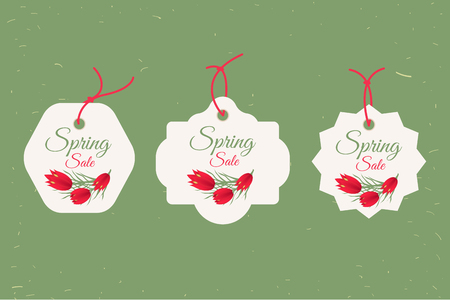 Spring sale banners poster tag design, voucher template. Big set. Floral frame for text, isolated on white background. illustration. Stock Photo