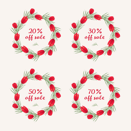 Set of Sale Sign Banner Poster ready for Web and Print. Spring sale tag design, voucher template. Big set. Floral frame for text, isolated on white background. illustration