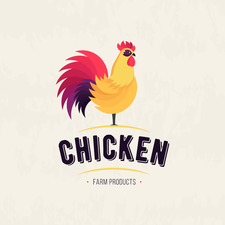 Colored Rooster icon. Cock. Poultry. Farm fresh sign. Chicken Farm meat logo, badges, banners, emblem and design elements for food shop and restaurant. Vector illustration Illustration