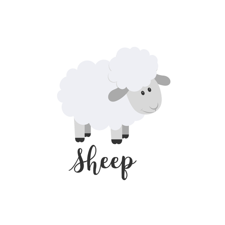 Flat color vector icon with cute animal for baby products - sheep. Cartoon style. Childrens doodle. Babyhood. Newborn. Vector illustration and element for your design, wallpaper. Zoo. Kids. Farm