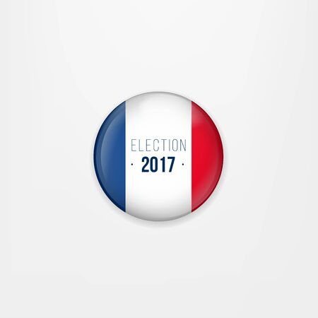 presidential: Flag of France round icon, badge or button. French national symbol. France Presidential Election Voting. Illustration