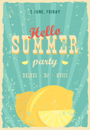 happybirthday: Hello summer poster. Summer background. Effects poster, frame, colors background and colors text are editable. Happy holidays card, happy vacation card. Enjoy your summer